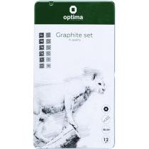 Набір чорнографітних олівців Optima GRAPHITE SET 12 шт. різної твердості (5Н-5В)