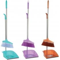 Набір для прибирання Economix cleaning: совок + щітка з довгою хромованою ручкою, 25х85 см
