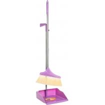 Набір для прибирання: совок та щітка з довгою хромованою ручкою, 26х90 см (рожевий)