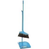 Набір для прибирання: совок та  щітка з  металевою ручкою (синій)