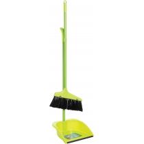 Набір для прибирання: совок та  щітка з  металевою ручкою (салатовий)