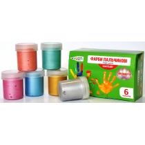 Фарби пальчикові, 6 перламутрових кольорів