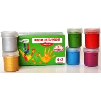 Фарби пальчикові 4 класичні кольори + 2 перламутрових