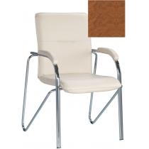Крісло SAMBA (S) (BOX-2) V-49, Штучна шкіра, коричневий, Хром база з мягк наклад