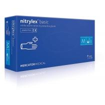 Рукавички нітр. огл., нест. неприпуд, сині, 100шт/уп, M (10уп/ящ), NITRYLEX BASIC