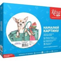 """Набір, техніка акриловий живопис за номерами, """"Собачка в жіночій сумці"""", 35х45см, ROSA START"""