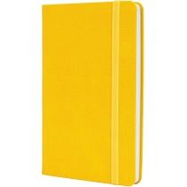 Діловий записник SQUARE, А5, тверда обкладинка, гумка, білий блок клітинка, жовтий