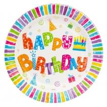 Набір з 6 тарілок паперових Happy Birthday, діаметр 17,78 см