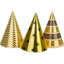 Набір з 6 ковпаків на голову із гумовою стрічкою Gold&Silver фольговані, висота 15,24 см, асорті