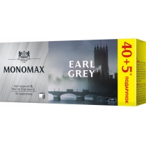 Чай чорний з бергамотом пакетований МОNОМАХ EARL GREY 40+5шт х 1,8г