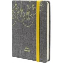 Діловий записник IDEA, А6, тверда обкладинка текстиль, гумка, кремовий блок лінія