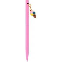 Ручка металева рожева з брелоком