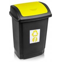 """Відро для сміття  """"SWING"""" чорне з жовтою кришкою, 25л"""
