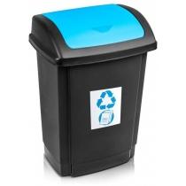 """Відро для сміття  """"SWING"""" чорне з блакитною кришкою, 25л"""