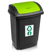 """Відро для сміття  """"SWING"""" чорне з зеленою кришкою, 25л"""