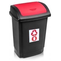 """Відро для сміття  """"SWING"""" чорне з червоною кришкою, 25л"""