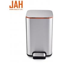 Відро для сміття квадратне з педаллю JAH 13л срібний металік з внутрішнім окремим відром