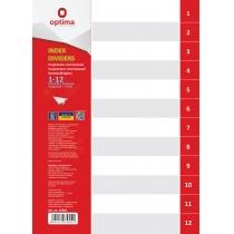 Роздільник аркушів А4 Optima, пластик, 12 розділів, цифровий