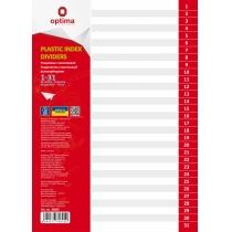 Роздільник аркушів А4 Optima, пластик, 31 розділ, цифровий