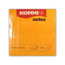 Стікери Kores, 75х75, помаранчеві, 100 арк.