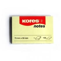 Стікери Kores, 75х50, світло-жовті, 100 арк.