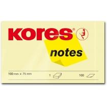 Стікери Kores, 125х75, світло-жовті, 100 арк.