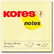 Стікери Kores, 75х75, світло-жовті, 100 арк.