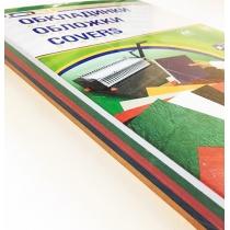 Обкладинка картон під шкіру А4 100 штук 230 г/м2 5 кольорів асорті (жовта, зелена, червона, синя, чо