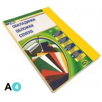 Обкладинка картон під шкіру А4 100 штук 230 г/м2 жовта