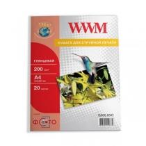 Фотопапір WWM A4, глянцевий, 200 г/м2, 20 арк.
