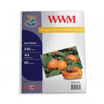 Фотопапір WWM A4, матовий, 230 г/м2, 50 арк.