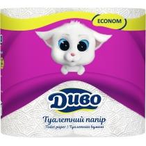 Папір туалетний 2 шари ДИВО Економ 4 рулони, білий
