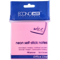 Стікери Economix, 75х75, рожеві, 100 арк.