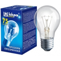Лампа стандартна 75W Е27 А55 прозора, ІСКРА