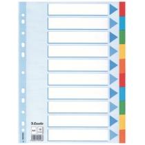 Розділювачі сторінок картонні Esselte кольорові, А4, 10 розділів