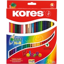 Олівці кольорові DUO, 24 кольори