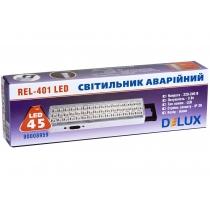 Світильник аварійний DELUX, REL-401 (3.7V1,5Ah) 45 LED 3W, 230x65x30