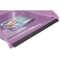 Набір для прибирання Economix cleaning: совок + щітка з хромованою ручкою, 25х85 см (фіолетовий)