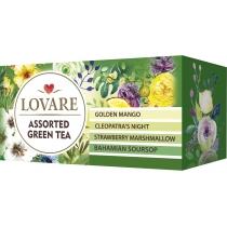 Чай зелений з ароматом манго, малини, суниці та саусепа пакетований Lovare  асорті 24шт х 2г