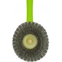 Сталева щітка-скребок для посуду, Economix Cleaning, зелена